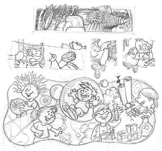 After studying Jon's notes and drawings, I sent off some roughs for approval.