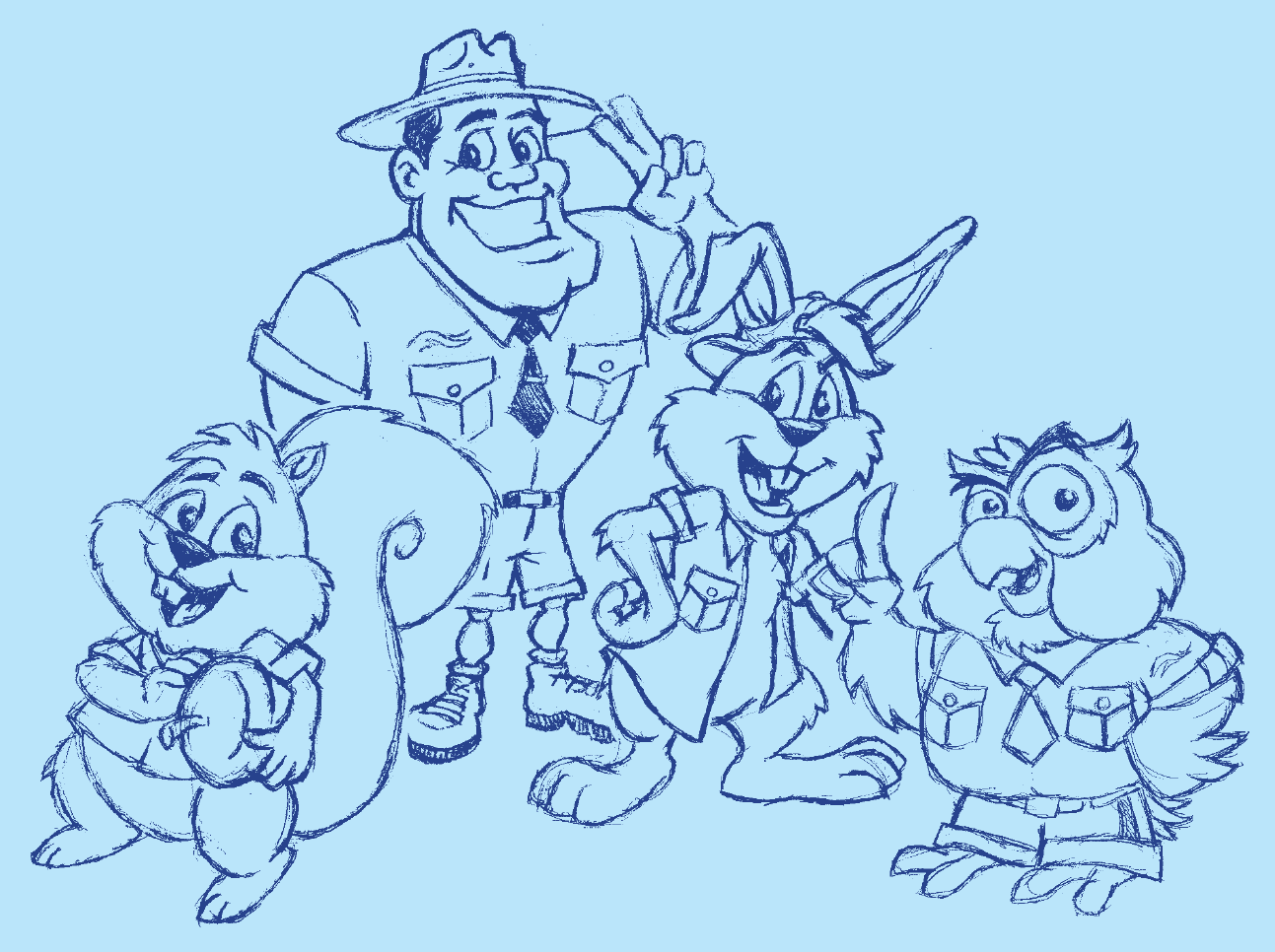 I translated these personalities into sketches based largely on Jon's direction.